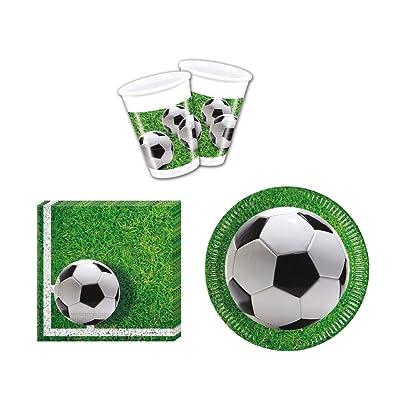 52 Piezas Vajilla Jardín de fútbol Party - Platos, vasos y servilletas de fiesta para 16 personas: Juguetes y juegos