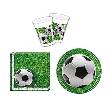 52 Piezas Vajilla Jardín de fútbol Party – Platos, vasos y servilletas de fiesta para 16 personas