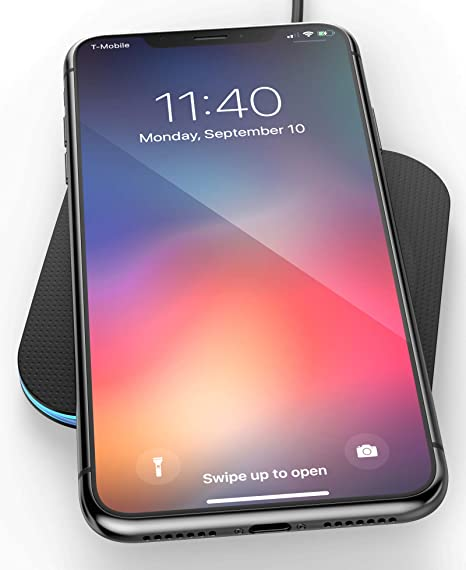 huge selection of 772d4 b4c1d Wireless Charger for iPhone XR, Qi Enabled Charging Pad (Case Compatible)  Safe Charge