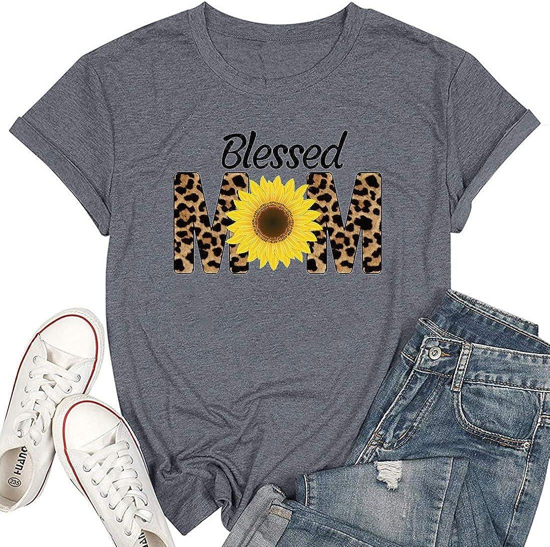 Leopard Cheetah Sunflower Blessed Mom Raglan Shirt Floral