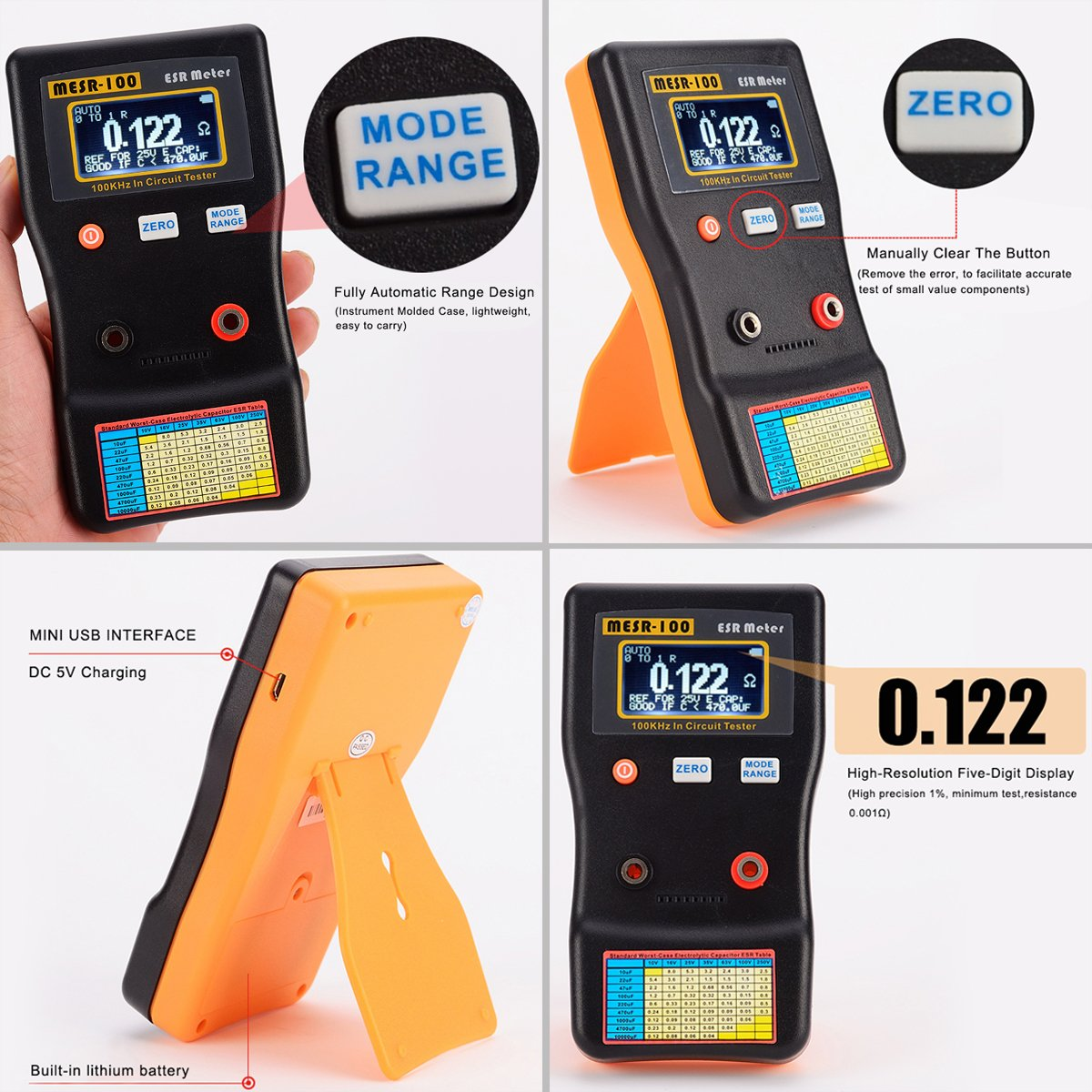 Signstek Mesr 100 V2 Auto Ranging In Circuit Esr Lcr Meter Capacitor Easy Transistor Tester Circuits Free Electronic Low Ohm Up To 001 100r Support Testing Industrial