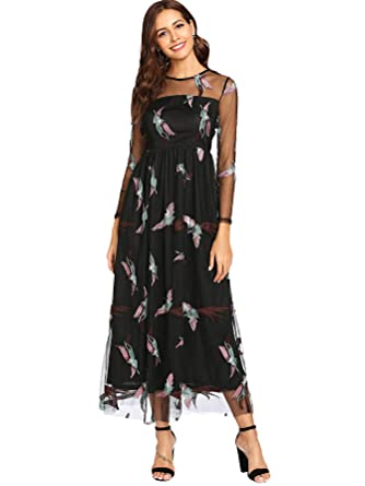 7b5c84187a DIDK Women s Sheer Long Sleeve Embroidered Mesh Overlay Maxi Dress Black S