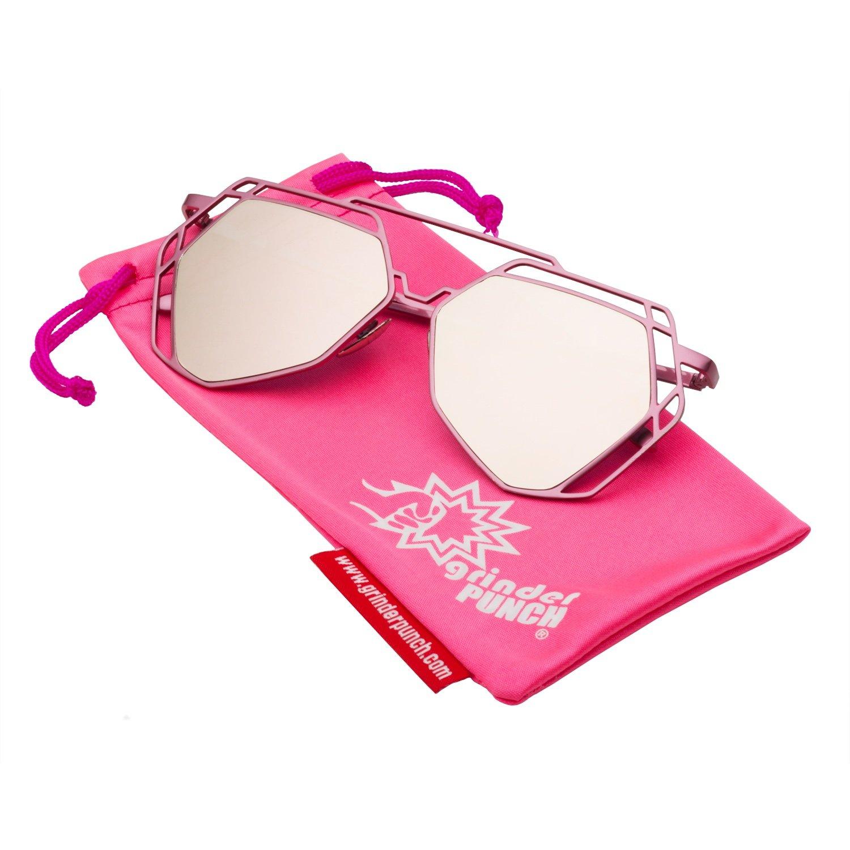 a860c78501255 Amazon.com  grinderPUNCH Women s Mirrored Heptagon Flat Lens ...