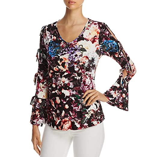 31ff63a1ceaa6 Amazon.com  Cupio Womens Floral Print Cold Shoulder Casual Top  Clothing