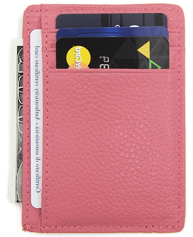 DEEZOMO RFID Blocking Genuine Leather Credit Card Holder Front Pocket Wallet With ID Card Window - Pink