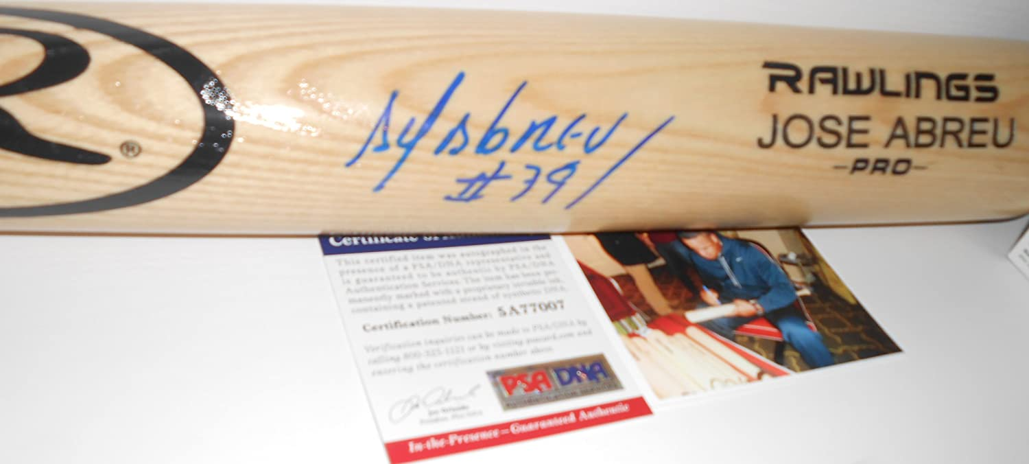 Jose Abreu Chicago White Sox PSA DNA 'IN The Presence COA' Autographed Signed Baseball Bat Blonde SidsGraphs