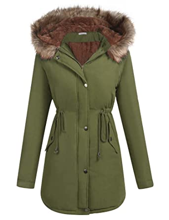 0c90cae240a ELESOL Women s Winter Mid Length Hooded Fleeced Coats Jackets Snow Parka  Army Green S