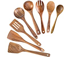 Wooden Spoons for Cooking,Nonstick Kitchen Utensil Set,Wooden Spoons Cooking Utensil Set Non Scratch Natural Teak Wooden Uten