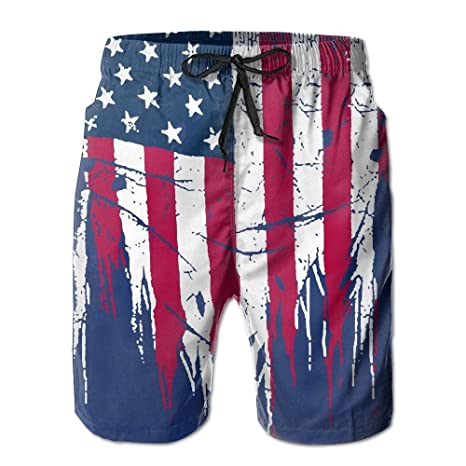 47099fdd75 Amazon.com: Build U Men's Board Short America Flag Quick Dry Swim ...