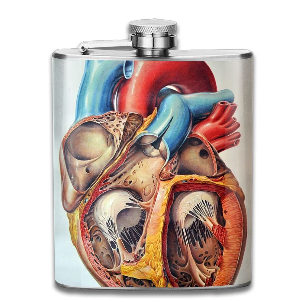 WUGOU Stainless Steel Hip Flask 7 Oz (No Funnel) Human Anatomy Chart Heart Full Printed by WUGOU