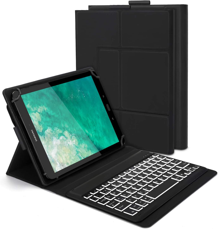 Funda con teclado retroiluminado Bluetooth para tablet de 9 a 11 pulgadas, Jelly Comb Tablet Teclado UK Layout QWERTY con soporte delgado para tablet 9-11 pulgadas, negro