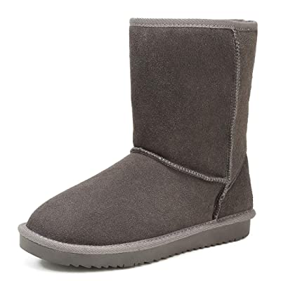 SEMARY Womens Classic Snow Boots Warm Genuine Suede Leather Winter Short Boot Flat Anti-Slip Fur Lining Mid-Calf Outdoor Slip on Boots | Snow Boots