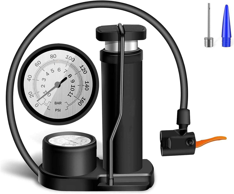 Compact Bike Pump Mini Portable Bicycle Foot Pump Pressure Gauge Tire Air Pump
