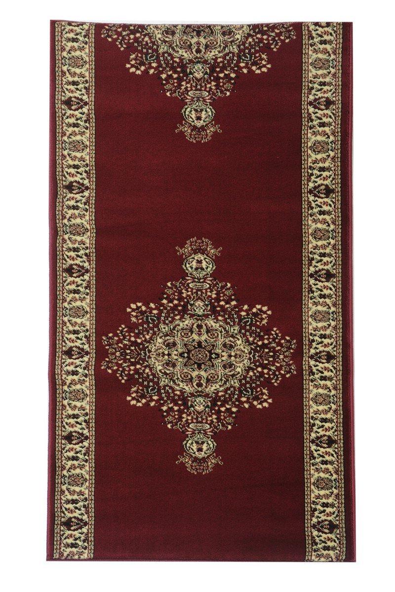 Havatex Orient-Teppich Läufer Marokko Bilder Rot - und schadstoffgeprüft | pflegeleicht robust strapazierfähig und schmutzabweisend | Diele Treppenhaus Schlafzimmer, Farbe:Rot, Größe:80 x 200 cm