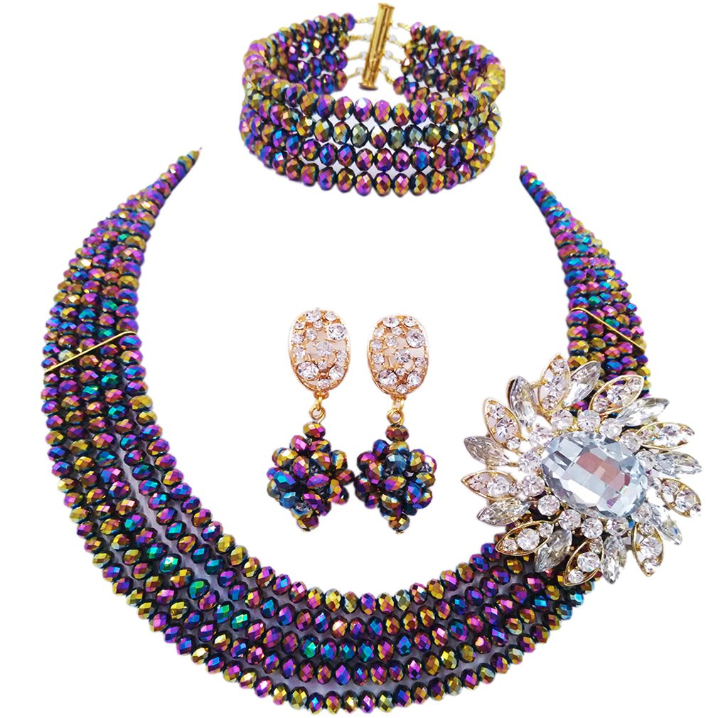 laanc Fashion Lady Jewellery 5 Rows MultiColor Crystal Nigerian Bridel Wedding African Bead Jewelry Sets (Multicolor Plated)