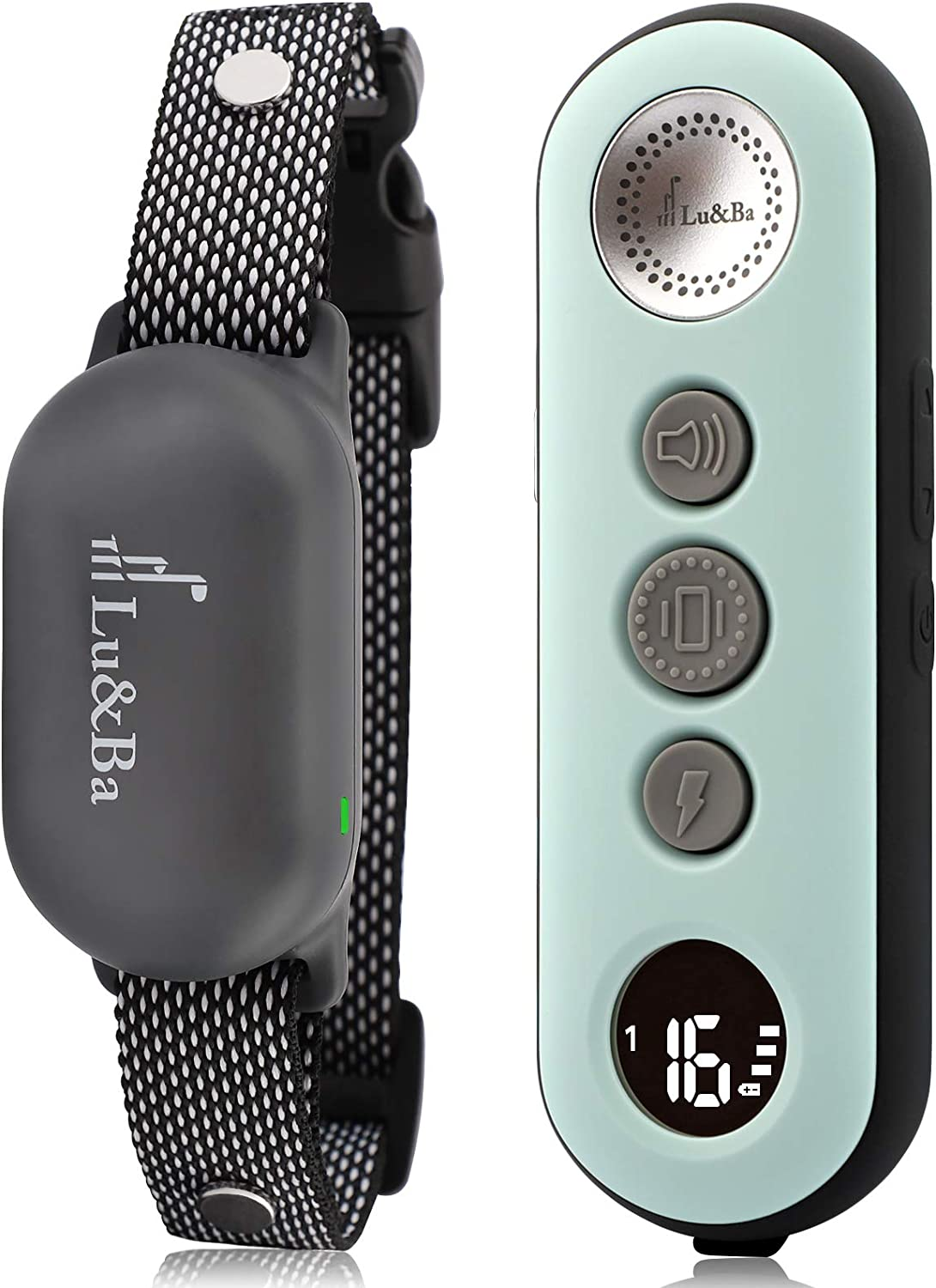 Lu&Ba Dog Shock Collar,3000ft Dog Training Collar with Remote Rechargeable Ipx7 Waterproof E Collar with 3 Safe Mode Beep Vibration and 16 Shock Level for 10-110lb Small Medium Large Dogs