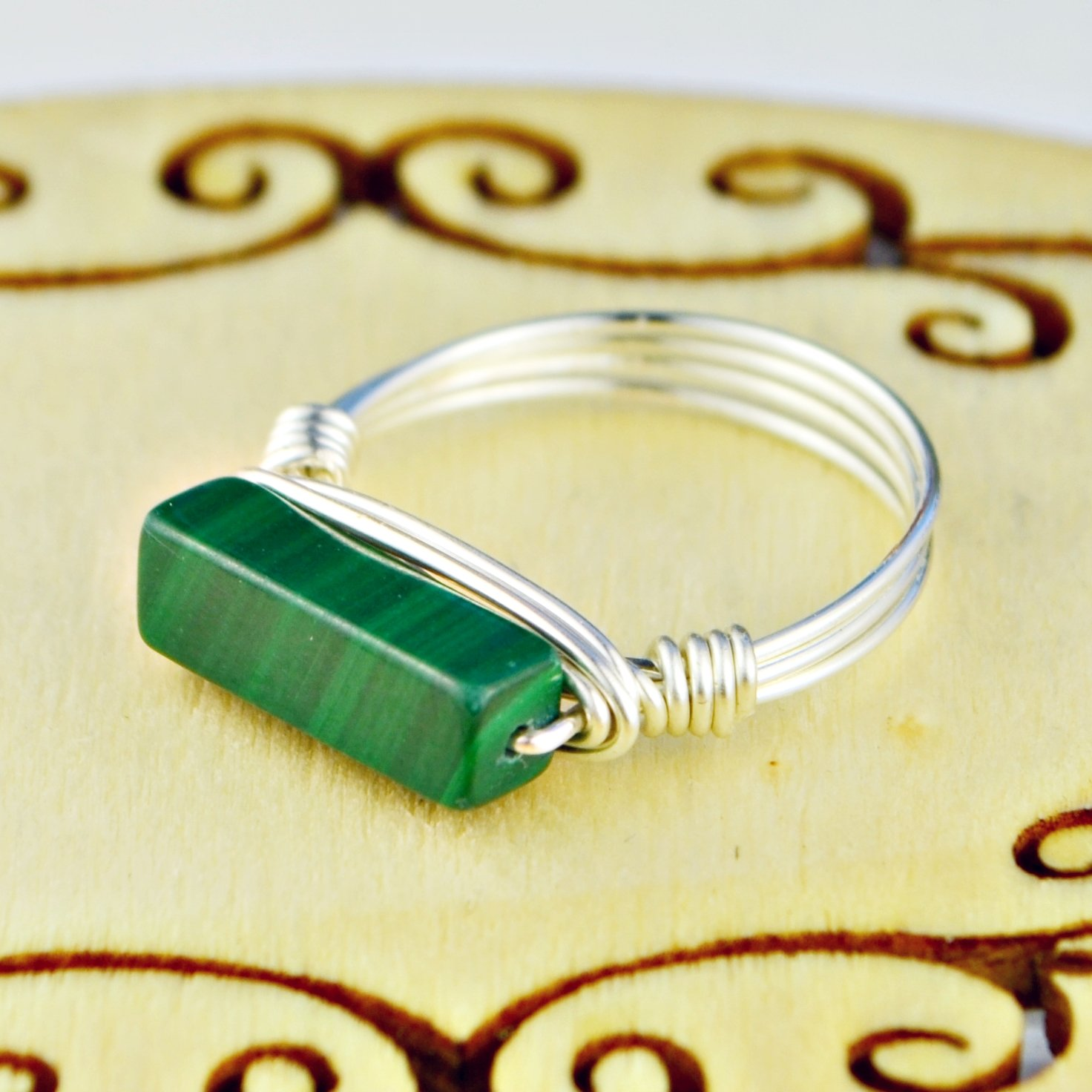 Malachite Rectangle Gemstone Wire Wrapped Stacking Sterling Silver or Gold Filled Wire Wrapped Ring- Custom made to size 4 -14