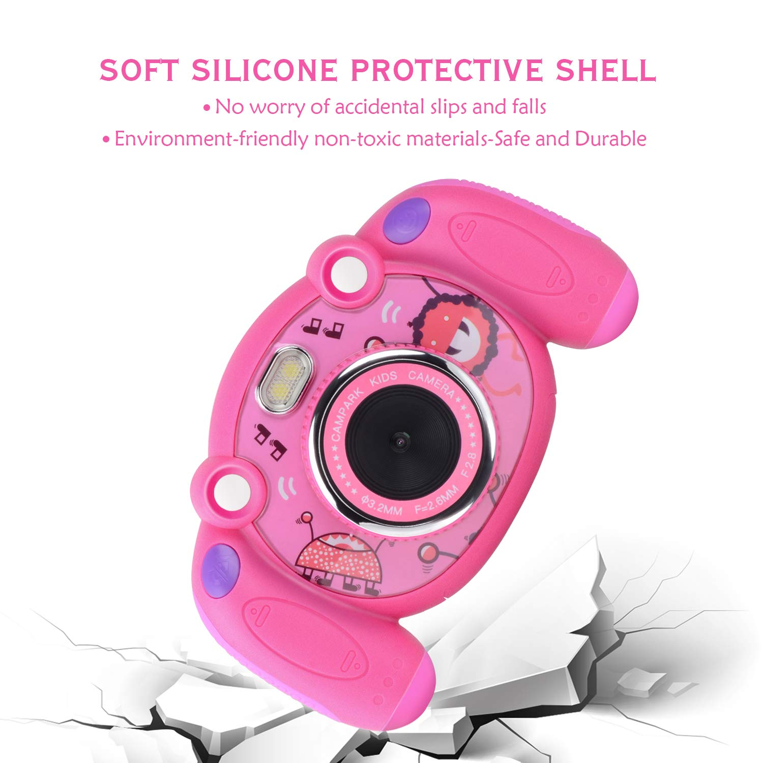 Campark Kids Camera, Mini Child Camcorder with HD LCD Display 16GB Memory Card for Girls Pink Great Birthday Gift by Campark (Image #4)