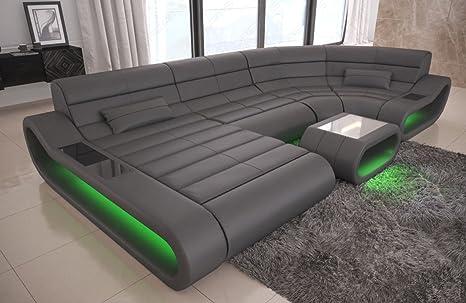 Sofa Dreams Piel Salón Paisaje Concept U Forma Gris: Amazon ...