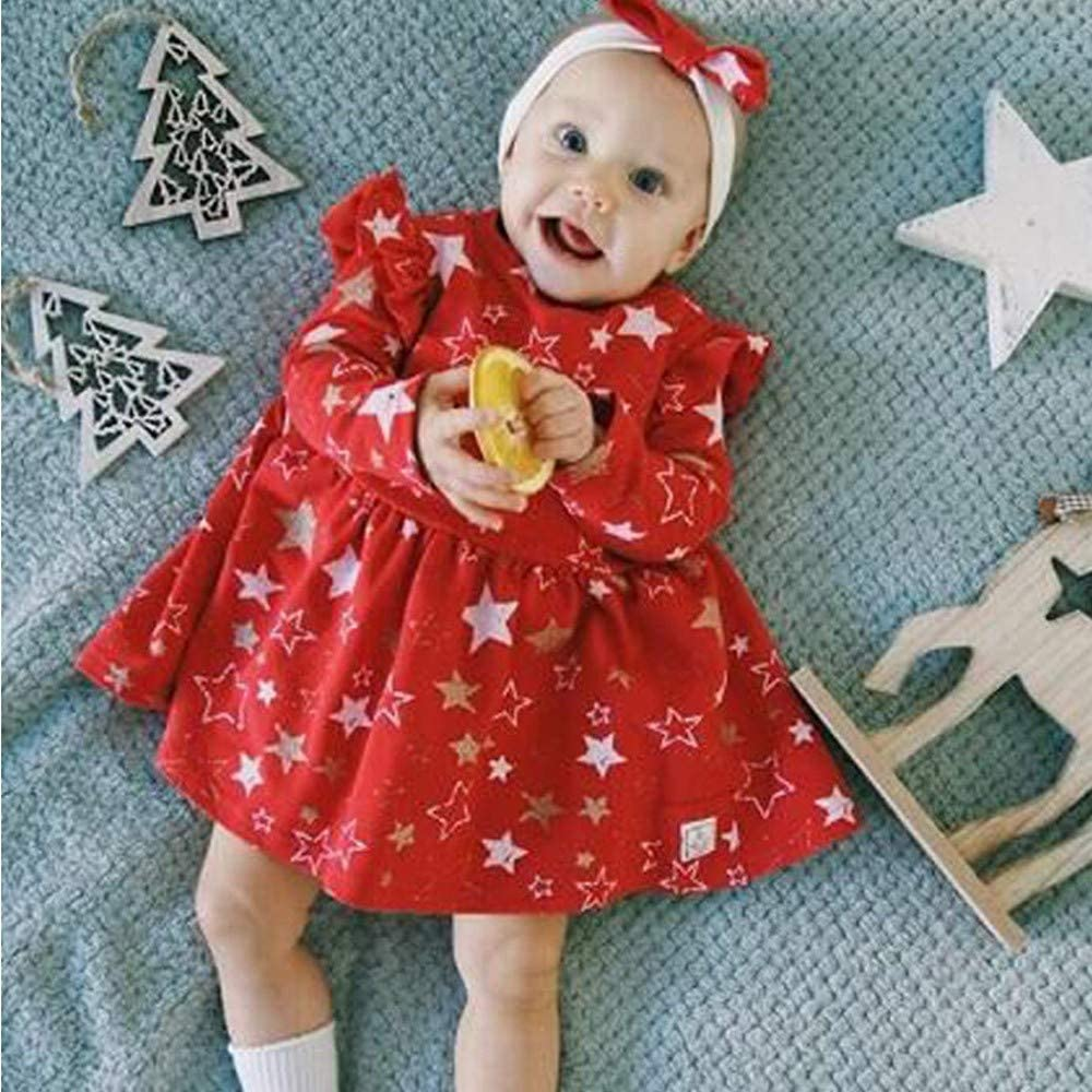 MOVEmen /_ Baby Girl dress Long Sleeve Star Print Party Princess Dress Outfits Clothes Long Sleeve Shirt T-Shirt