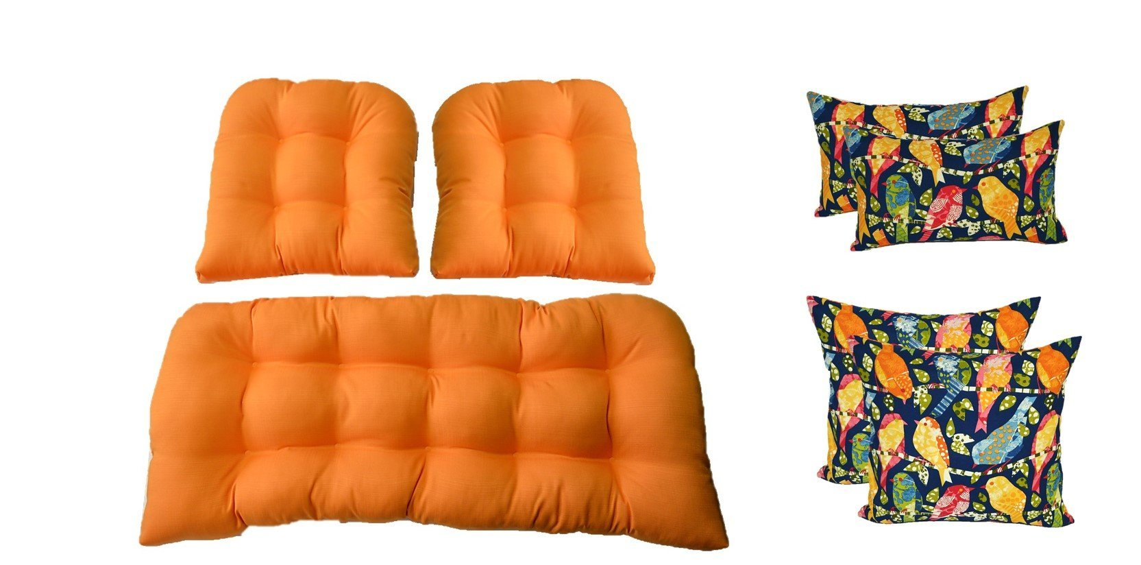 Wicker Cushions and Pillows 7 Pc Set - Woven Twill Mojo Creamsicle Orange Cushions and Blue Ash Hill Garden Birds Pillows - Indoor / Outdoor Fabric