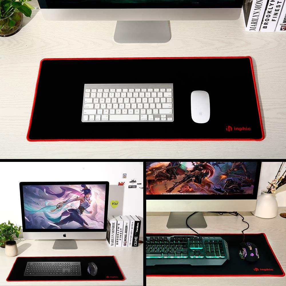 Erweitertes Gaming-Mauspad XXL komfortabler strukturierter Oberfl/äche f/ür Gamer Inphic Gro/ßes Kartenmousepad mit Anti-Fray-Stoff und wasserabweisender Office /& Home -90 * 40 * 3mm