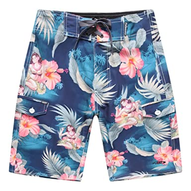 9db0a4ceb0 Men's Beach Wear Board Shorts with Pocket in Blue Hula Girl Cocktail 28