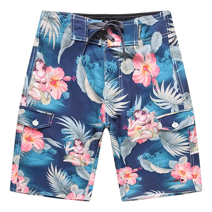 Men s Beach Wear Board Shorts with Pocket in Blue Hula Girl Cocktail 28 ba32c647a88a