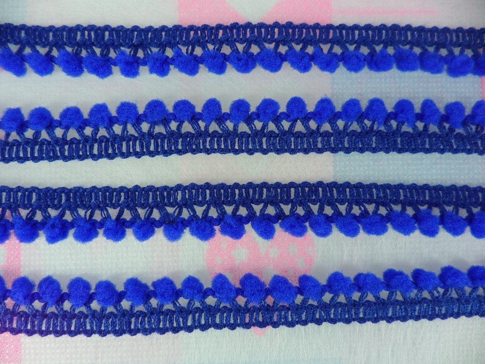 Royal Blue Mini Pompom Tiny Ball Fringe Baby Infant Trim Embroidered Sewing Embellishments Supplies 5 Yards DIYcraft