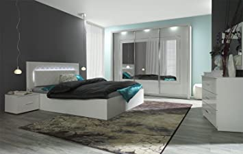 Schlafzimmer Komplett   Set A Psara, 5 Teilig, Farbe: Weiß Hochglanz /