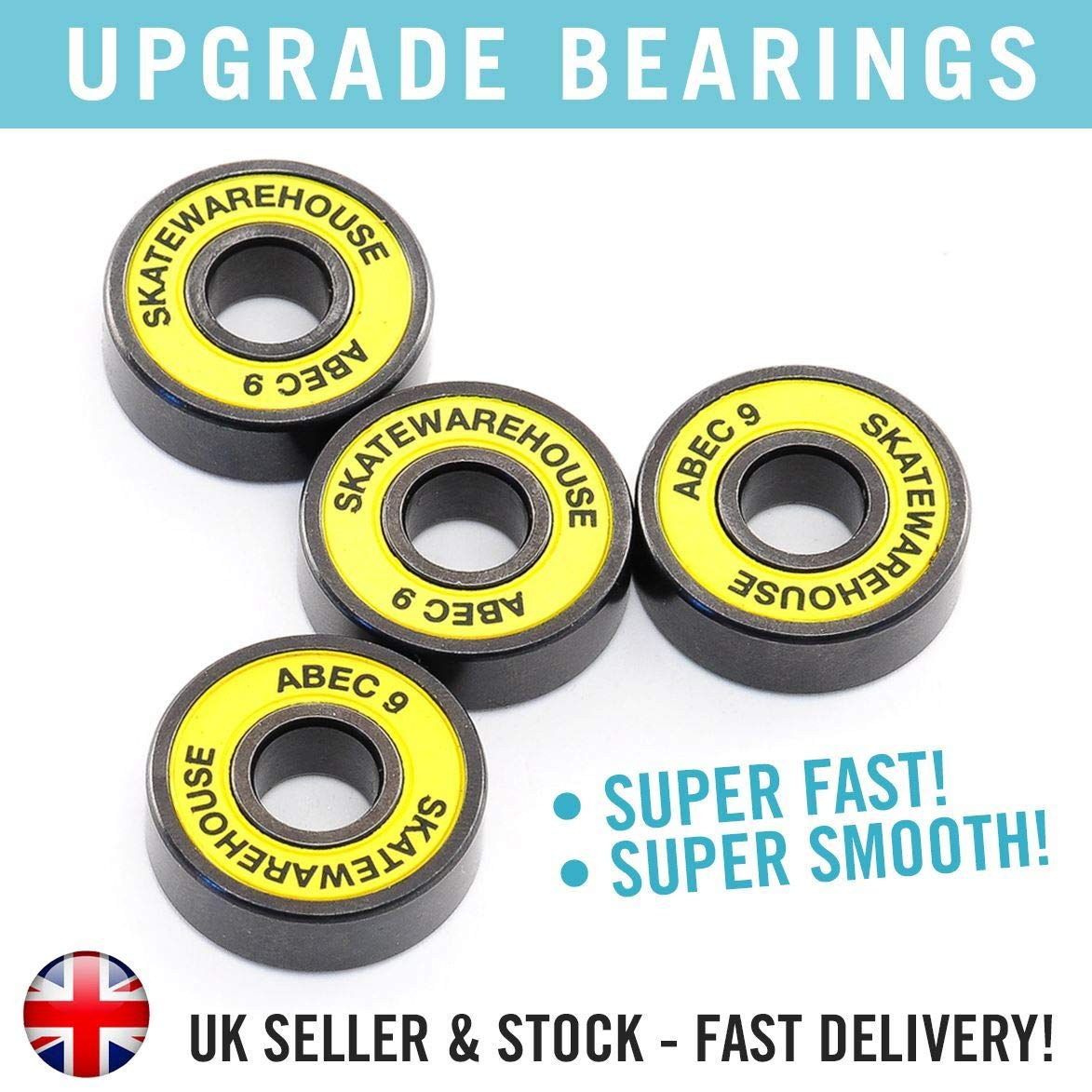 Skatewarehouse Abec 9 Ultra Smooth Stunt Scooter Replacement Wheel Bearings x4