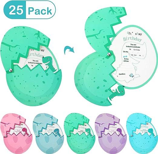 Gejoy 25 Piezas Tarjeta de Invitaciones de Cumpleaños de Dinosaurios Tarjeta de Invitación de Huevo de Dinosaurio para Suministros de Cumpleaños, Baby Shower, Fiestas: Amazon.es: Hogar