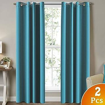 "Room Darkening Grommet Curtain Panel Teal Light Filtering Noise Reducing 50/""x84/"""