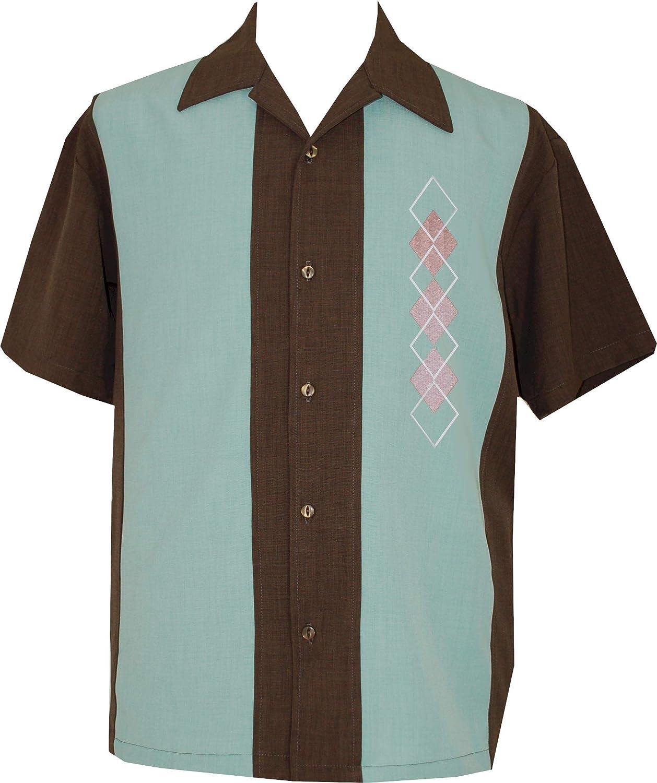 Lucky Paradise Clothing Men's USA Button Down,UntuckCuban Camp Shirt, Hawaiian, Guayabera ~ Argyle