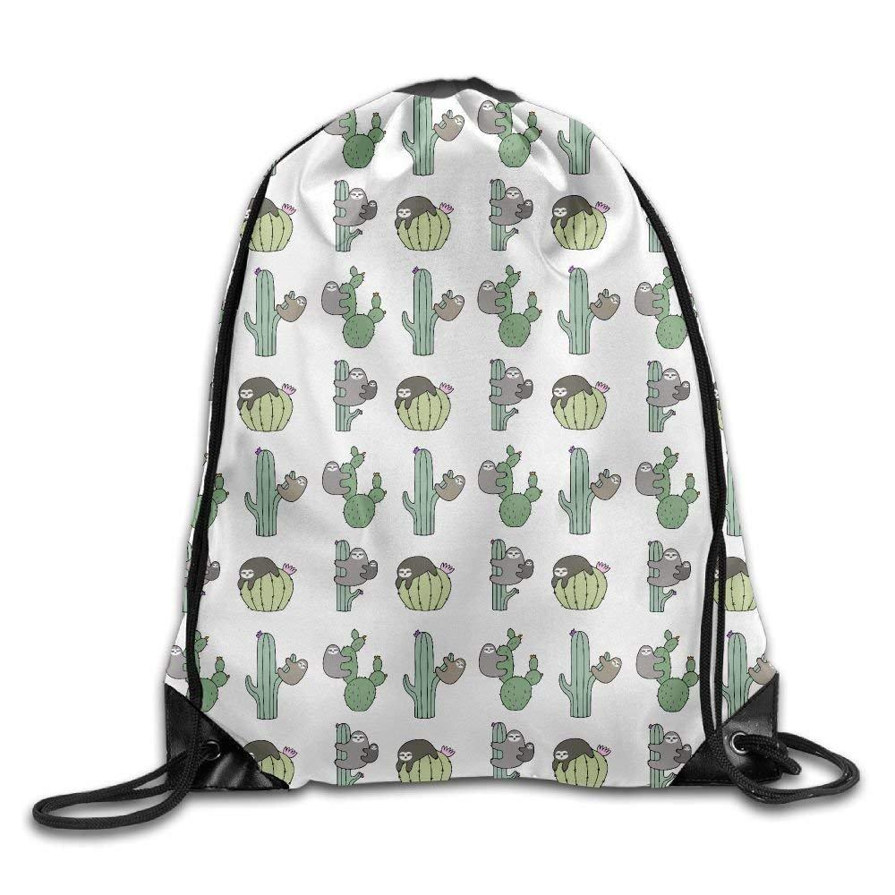 Sloth Cactus Print Drawstring Backpack Rucksack Shoulder Bags Gym Bag Sport Bag Doormat bags