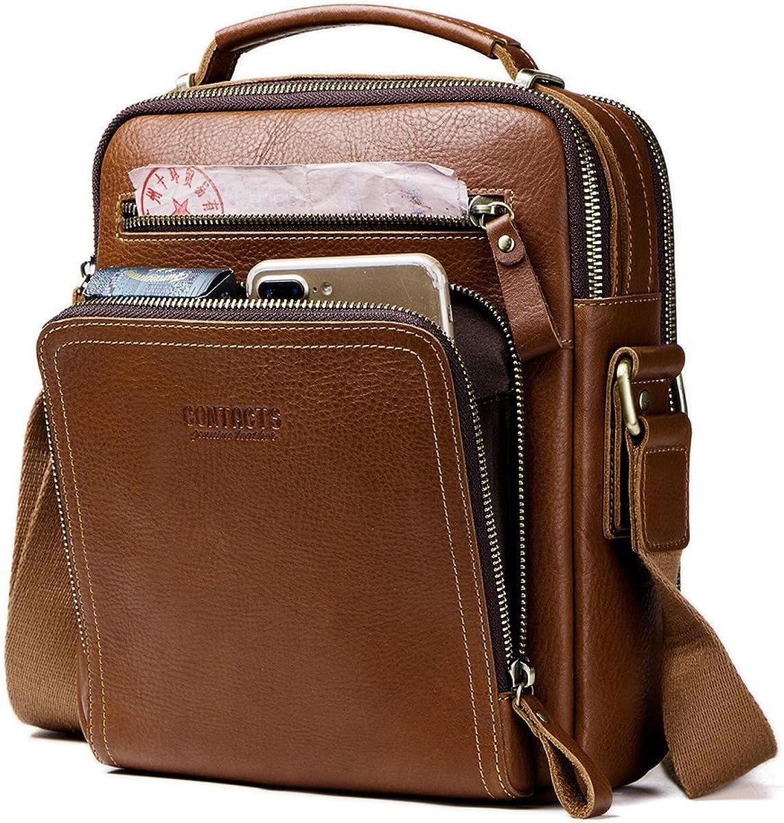 Contacts Cuero real para hombre iPad Mini Tab Messenger CrossBody bolso de mano marrón