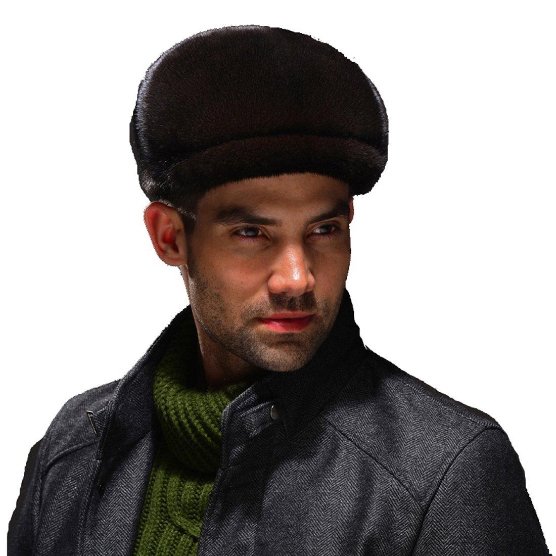 URSFUR Men's Mink Full Fur Cabbie Cap (Black)