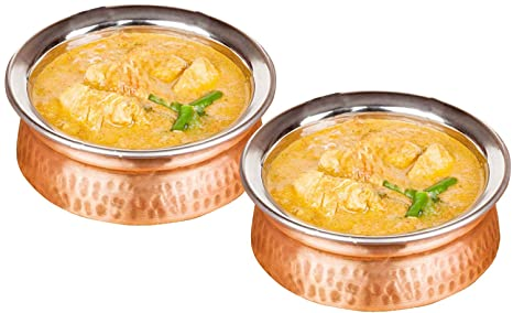 700 ml estilo martillado acero inoxidable cobre utilizado como tazón de helado, plato de sopa