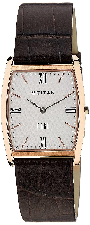 Titan Men's Edge Mineral Quartz Glass Slim Analog Wrist Watch- Ultra Slim Watch with Metal/ Leather Strap by Titan