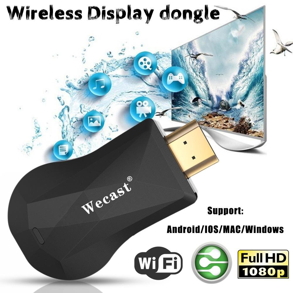 Smileyyi WiFi Display Dongle, Wireless HDMI Screen Mirroring Device, 1080P WiFi Display Airplay Dongle Digital AV to HDMI Connector for Phone/pad, Support DLNA/Airplay Mirror/Ezcast/Miracast