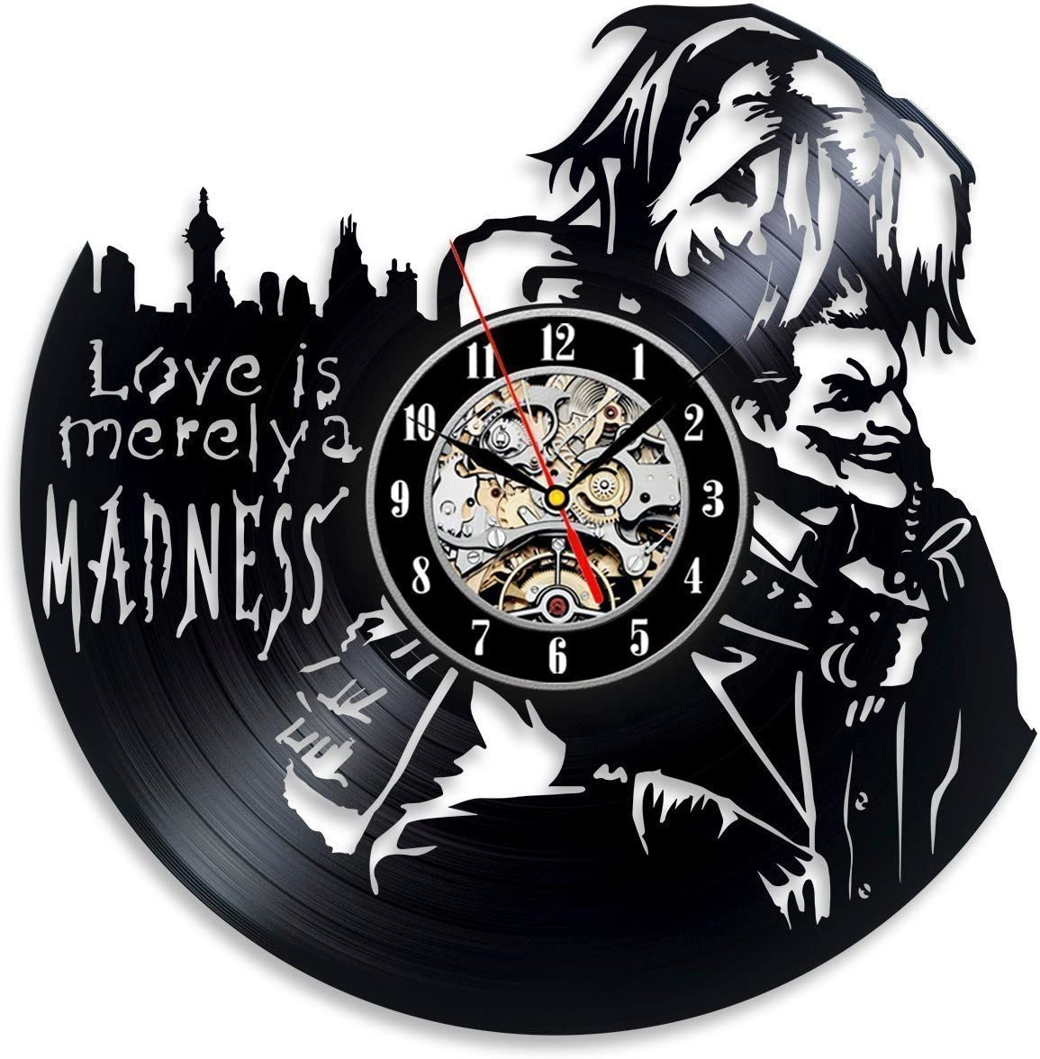 Vinyl Evolution Harley Quinn Decal Love Joker Wall Clock – Decorate Your Home with Modern Large Art – Best Gift for Him and Her – Win a Prize for Feedback