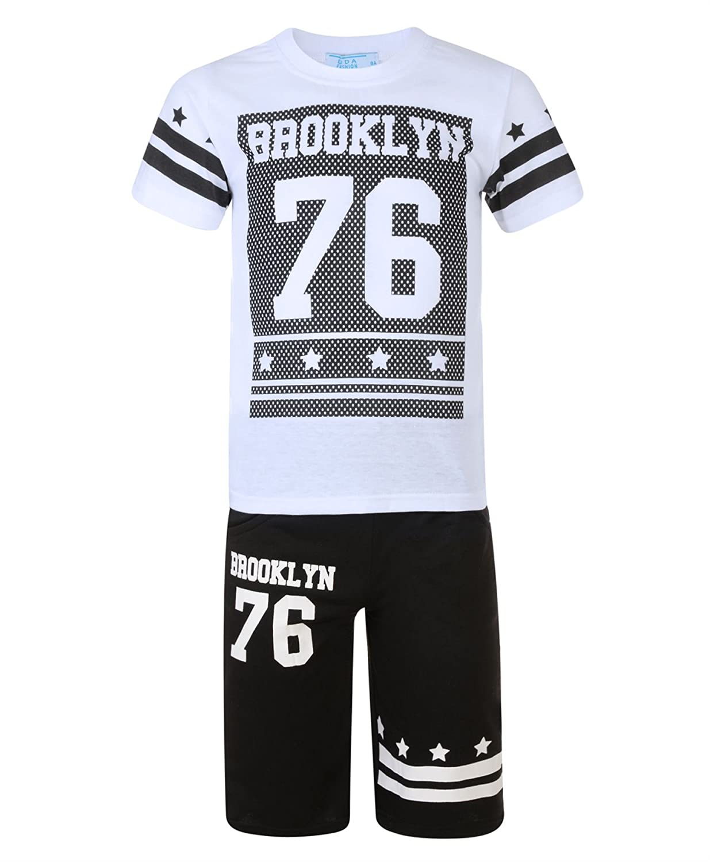 LotMart Kids Brooklyn 76 Print T-Shirt & Shorts 2 Pc Set Boys Girls Top Bottoms