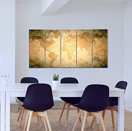 Wall Painting Set Of 5 | Vintage world map | Multiple Frames Split ...