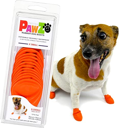 Pawz Dog Boots X-Small | Dog Paw Protection with Dog Rubber Booties | Dog Booties for Winter, Rain and Pavement Heat | Waterproof Dog Shoes for Clean Paws | Paw Friction for Dogs