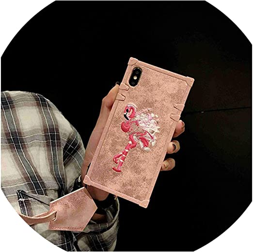 Coques pour iPhone X Xs Max Xr Cover Girly 3D Rose Broderie Carré ...