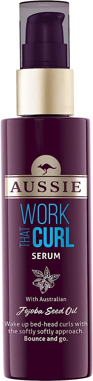 Aussie Work That Curl - Suero para el cabello con aceite de semilla de jojoba australiano, productos para el cabello rizado 75 ml
