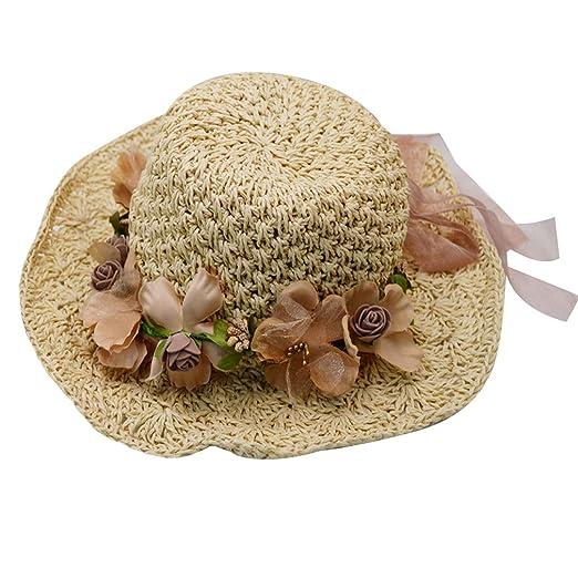Felice Girl kids Foldable Straw Sunhat Crochet Garland Parent-Child Beach  Sun Visor Cap with ff119c9cbf95