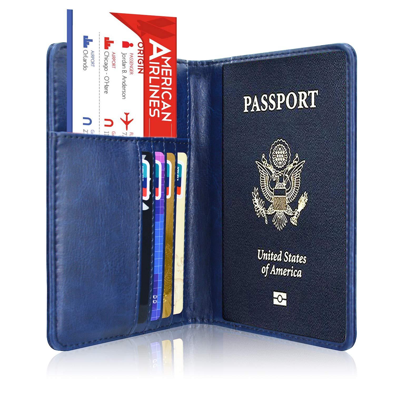 Passport Holder Cover, ACdream Travel Leather RFID Blocking Case Wallet for Passport, Dark Blue by ACdream (Image #3)