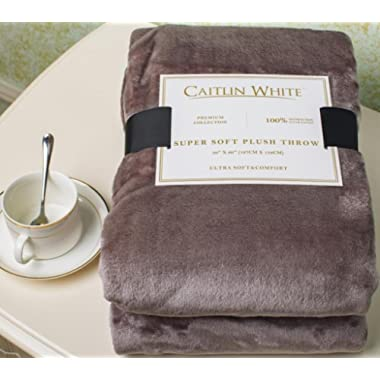 Caitlin White Throw Blanket for Couch/Sofa/Bed, Luxury Super Soft Microplush Velvet, 50 x60 , Grey