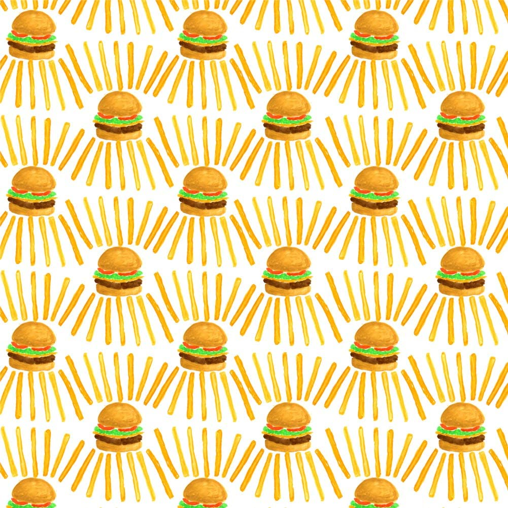 GRAPHICS & MORE Burgers and Fries Fast Food Pattern Premium Roll Gift Wrap Wrapping Paper